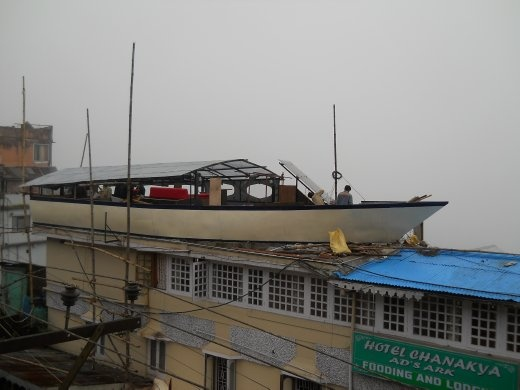 Boat on house