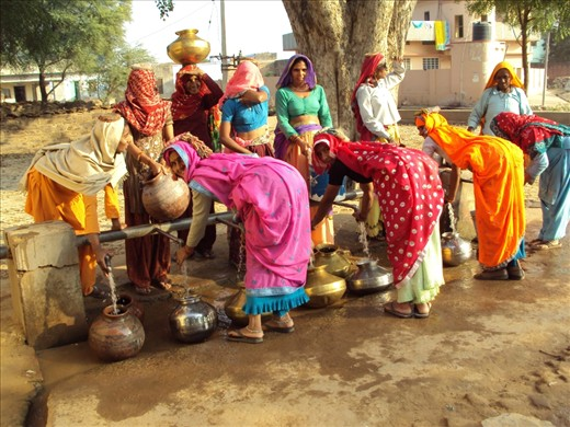 Water supply - this is the only way for the households in some villages in Rajasthan to have water in their homes and women are the ones to take care of it