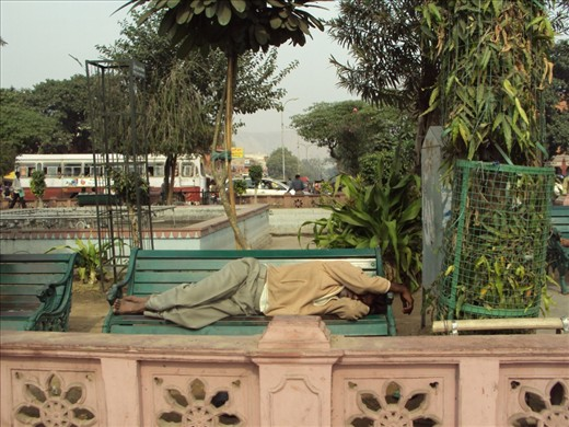Good morning Jaipur! A homeless man sleeping amidst inconceivable noise in a brisk public place