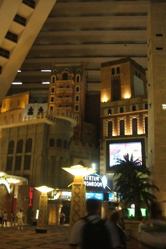 Inside the Luxor, above the 'buildings' are the walkways for the rooms.