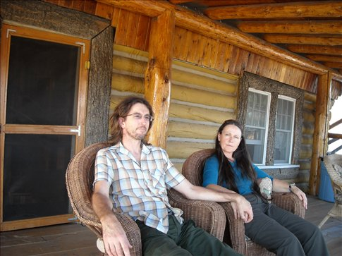 On the deck of our log Hotel