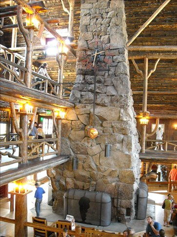 Clock in the amazing lodge at Old Faithful geyser