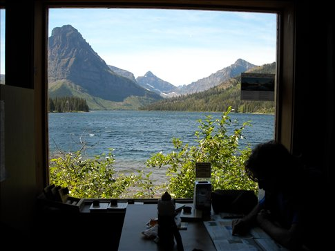 Looking through a window of the Two Medicine Lodge where we had lunch.