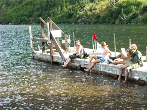 Waiting for the boat to take us back down the lake to the lodge and the shuttle back to East Glacier Park Village.