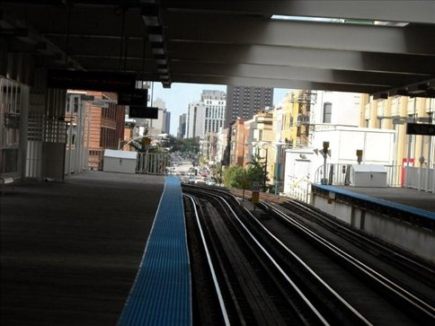 The 'L' train, it runs above the street