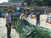 A man on the beach was building a shade house for the things he was selling. We got to both help him so learnt as well as saw how it was done.: by nomad_kiwis, Views[285]