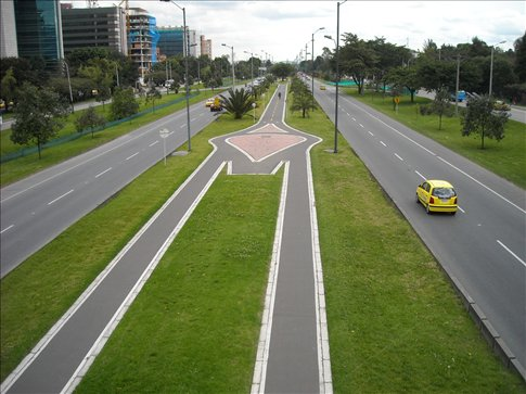 the cycle lanes run in the centre of some streets