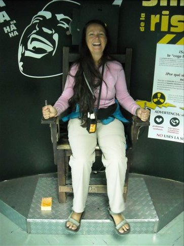 Carol getting a buzz at MALOKA the Museum of Science and Technology