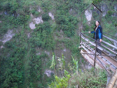 standing out over a 150m drop - scary!