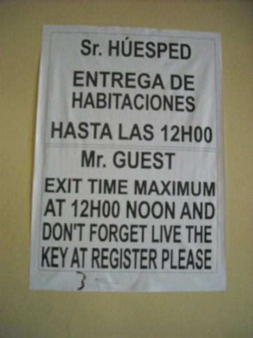 sign in our hotel