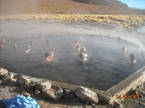7.30am and soaking in the hot pool - Carol is in the middle