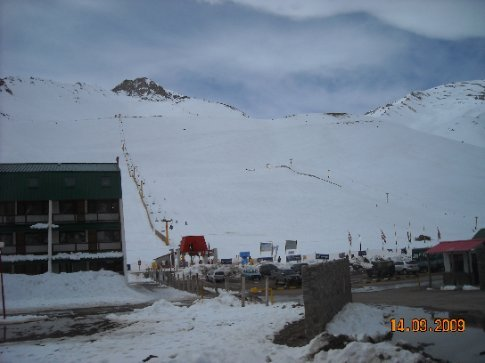 Ski field right beside the road