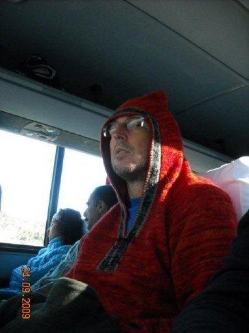 Kent stole Carols jersey to keep warm, doesn't he look cute!