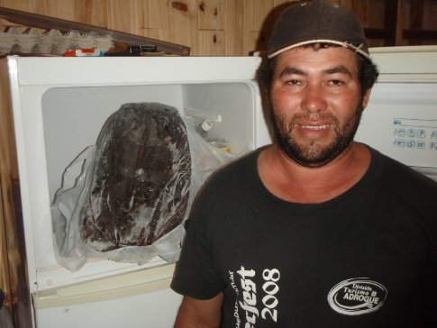 the head of a 45kg fish Vilmar caught in the river