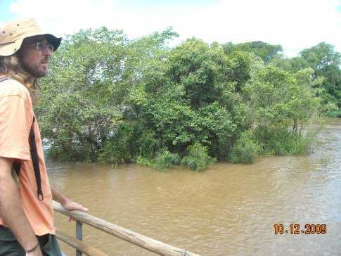 Kent checks out the flooded river