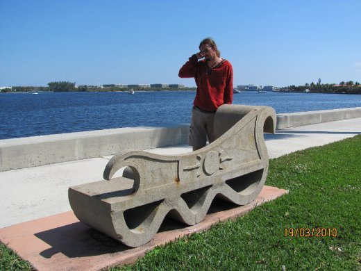 cool seat on the walkway by the Intercoastal Waterway at West Palm Beach