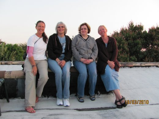 group of 53 year olds on the roof of our new friend Linda in West Palm Beach