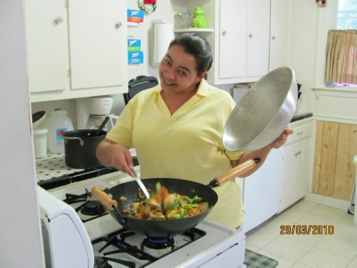 Alita whipping up a wonderful dinner!