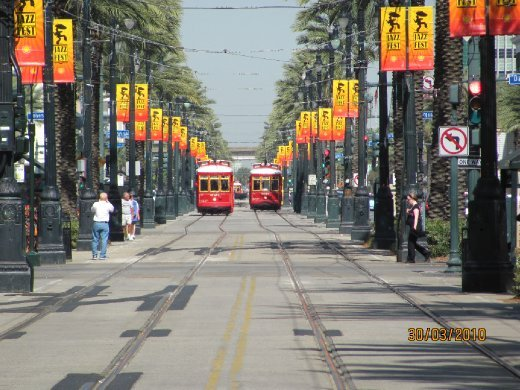 streetcars in Canal Street
