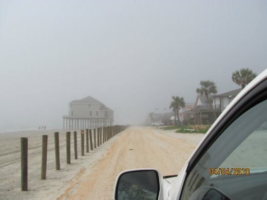 Galveston houses stranded out on the beach. This house used to have two rows of houses between it and the beach...