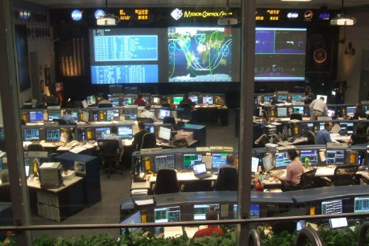 The operating control room, the shuttle is up at the moment and its trajectory is displayed on the screens. At the time we were there the astronauts were in their sleeping time