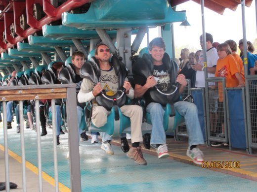 Kent and Glen ready to rock and roll on the Elitch Gardens roller coaster