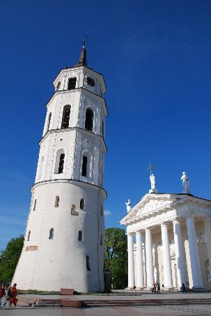 Vilnius old town - the drum tower and cathedral