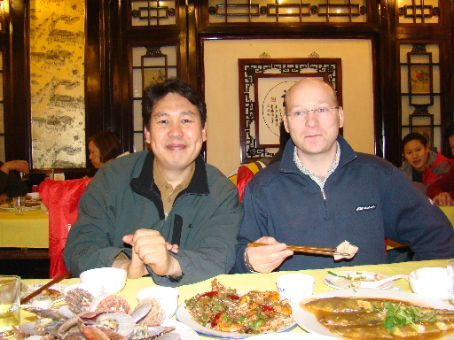 Me and Joseph(He's a doctor from South Korea) at dinner with the hotel big cheeses.
