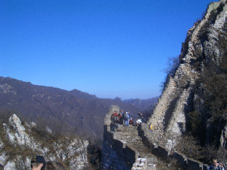The Great Wall - the first tricky section of the wall that we walked, we turned to the right half way up.