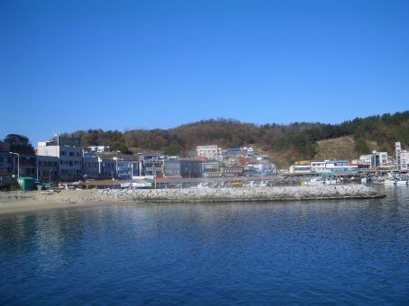 Sokcho, port and quiet fishing market. Lovelly deep fried, battered squid.