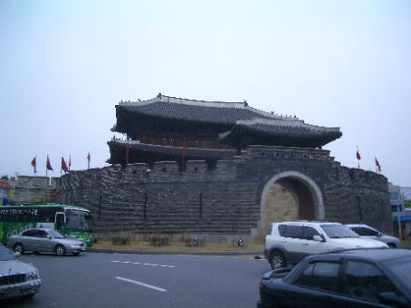 UNESCO World heritage listed 200 year old Hwaseong fortress in Suwon, the main gate.