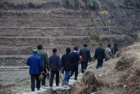 Longji rice terraces, a funeral procession