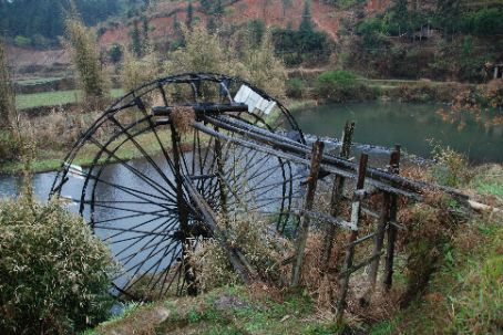 Wheels used to flood the fields, lots of them in Sanjiang