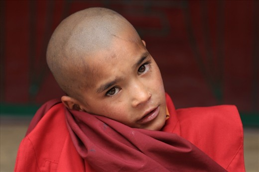 A little monk, stares into my lenses as I walk into one of the oldest monasteries of Ladakh - Lamayuru.
