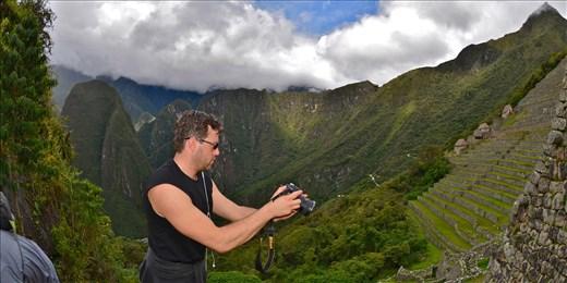 filming in Machu Picchu, Peru