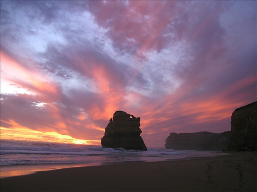 Sunset over The Twelve Apostles from Gibson Steps.