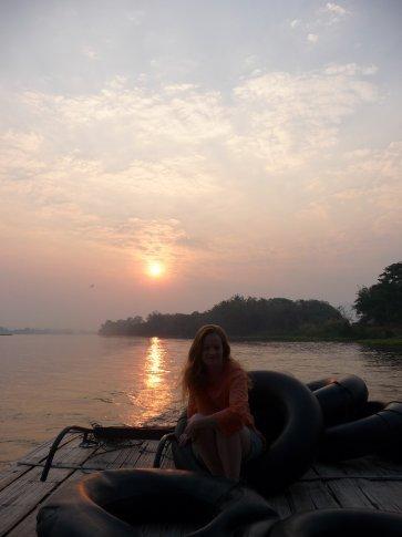 Amazing sunrise on the barge