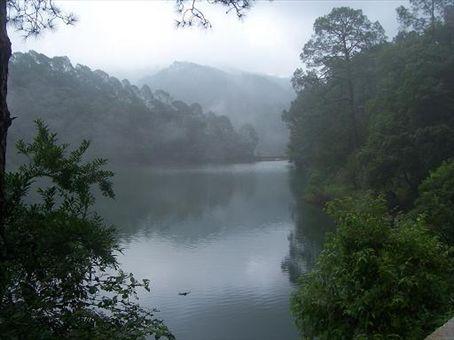 Misty lake near Nainital