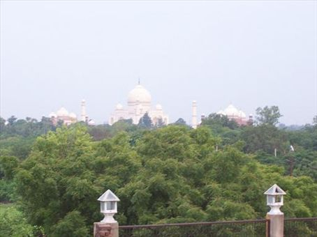 View of the Taj Mahal from our hotel window, room 305 at the Taj Plaza.