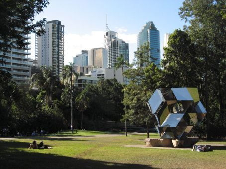 Brisbane City taken from the City Botanical Gardens by the Morning Star Sculpture