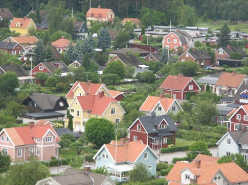 Orebro suburbs, seen from Swampen, the Water tower.