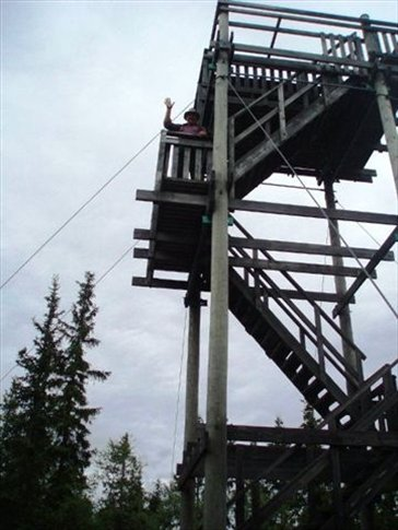 Half way up or down the lookout tower in Kindla Nature Reserve
