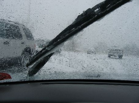 Here you can see the ice built up on the wipers. I had to stop every 30 mins to scrape it off.