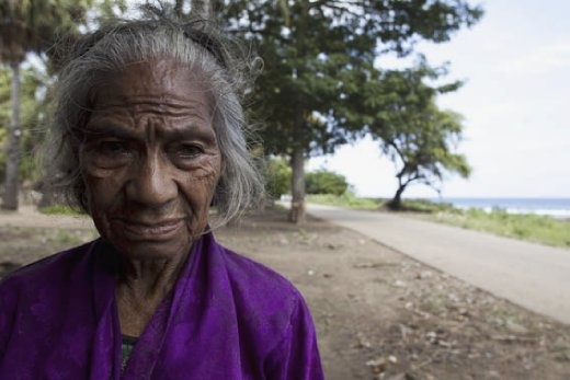 An old woman ravage by time who has witnessed unspeakable crimes against her people and left to grow old alone.