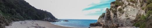 Panoramic of a hidden beach at Abel Tasmin