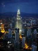 Petronas Towers by night from the KL tower: by paulmatthew, Views[215]