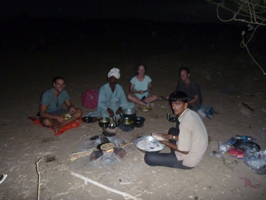 Dinner is served, the fresh chapati's cooked on the fire were amazing