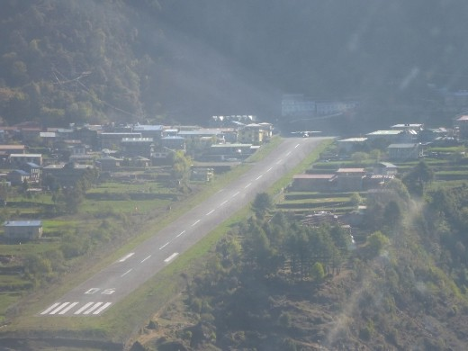 Coming into land at Lukla airport