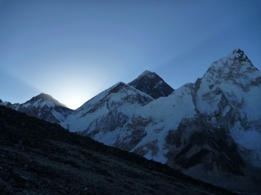 Sun about to rise over Mt Everest