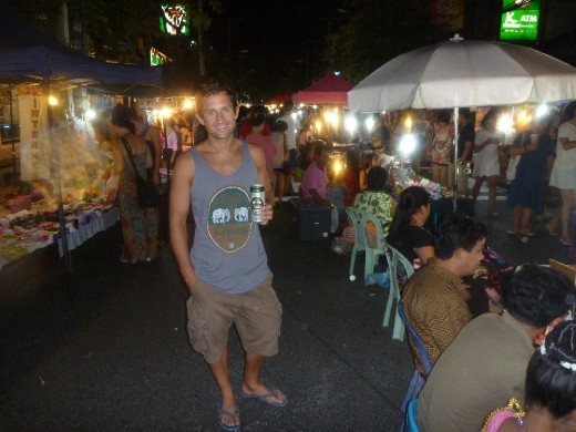 Enjoying a chang at the night market